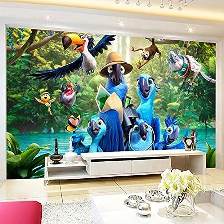 Leegt Custom Photo Mural 3d Wallpaper 3d Cartoon Blue Parrot Poster