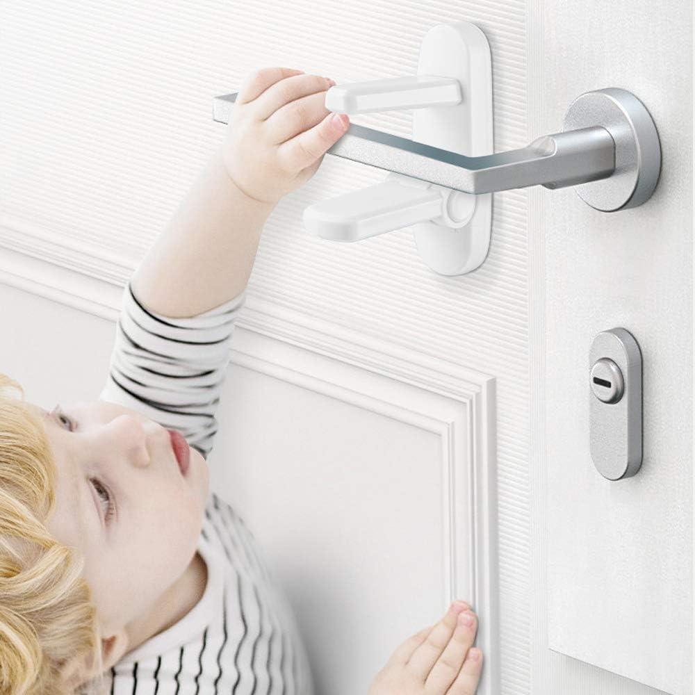 kindersicher Kindersicherung T/ürdr/ücker T/ürgriff mit strapazierf/ähigem ABS-3M-Kleber T/ürschl/össer f/ür Kinder und Babys 4 St/ück