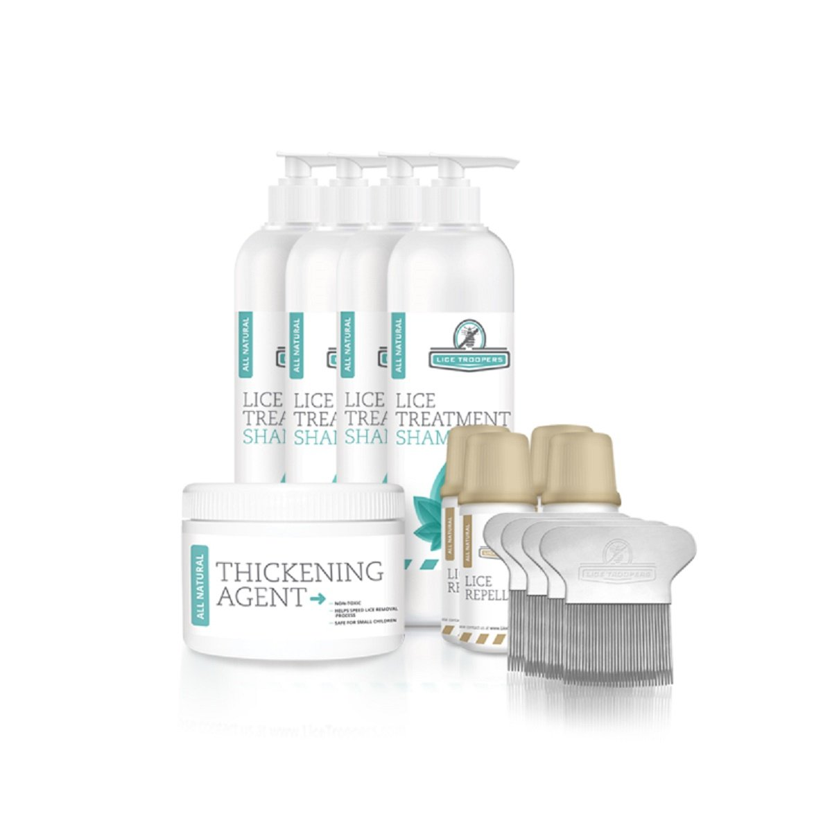 Lice Troopers Four Person Lice Treatment Kit - Includes Lice Treatment Shampoo, Repellent, Comb, Thickening Agent