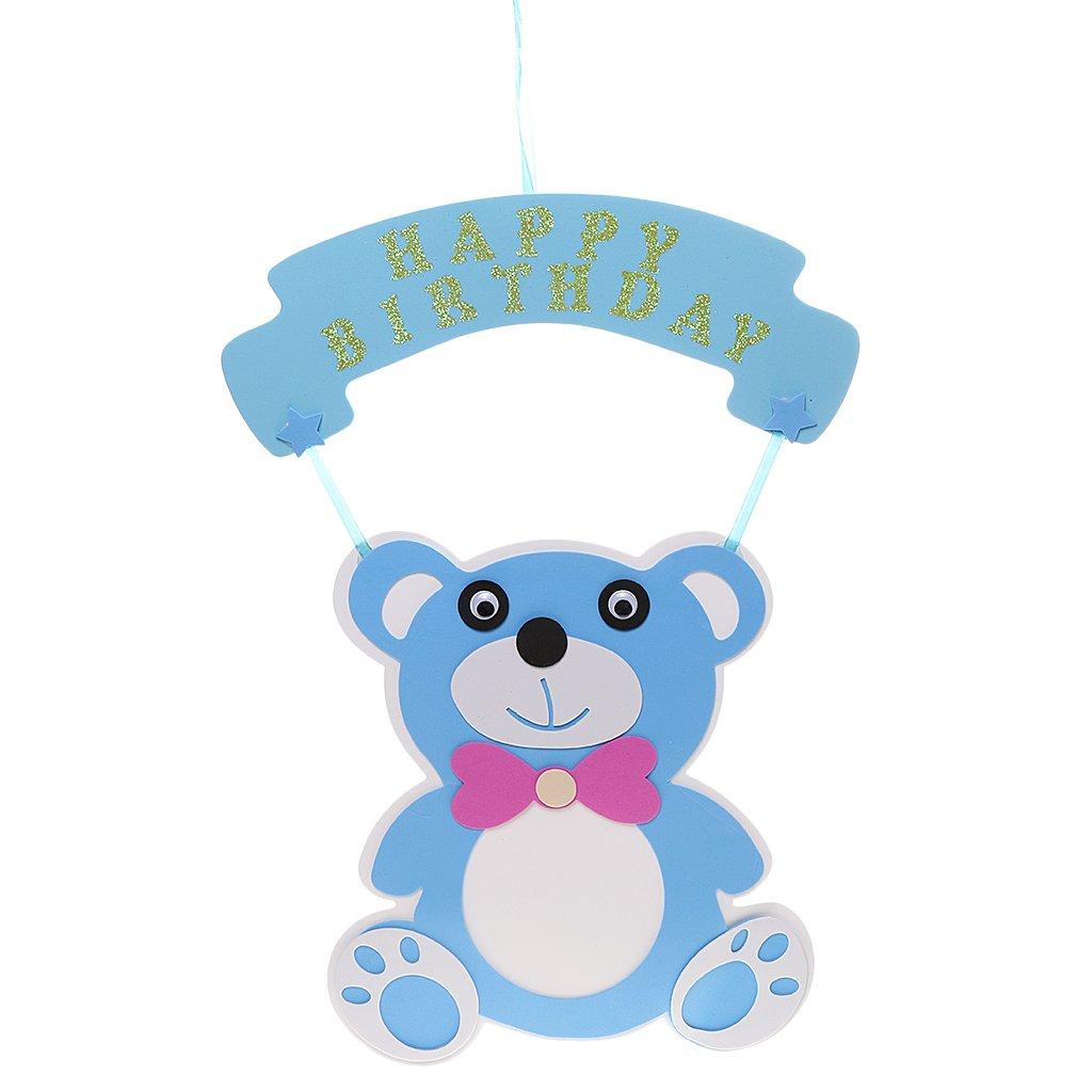 Decoración De Puerta 3D Colgante De Papel De Bienvenida Al Bebé Belleza Fiesta De Cumpleaños - Azul Búho, 45cm x 35cm Generic