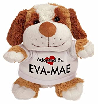 adoptedby TB2 perro eva-mae de peluche oso de peluche con un nombre impreso camiseta