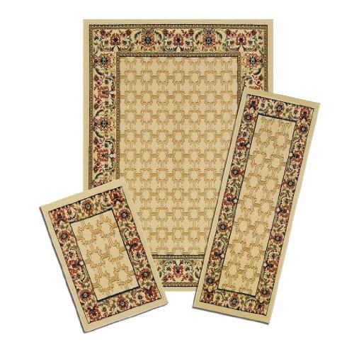 一般化する無知医師Achim Importing Co., Inc. X535/372-W Capri 3 Piece Rug Set - Golden Lattice