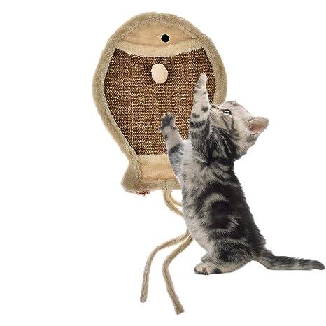 Augproveshak - Almohadilla de rascar para Gatos con Cuerda de cáñamo, con Pelota de Peluche