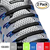 2SPORTIFY No Tie Shoelaces for Kids and Adults - Tieless Elastic Shoe lace for Sneakers Silicone Flat Laces Pack of 2