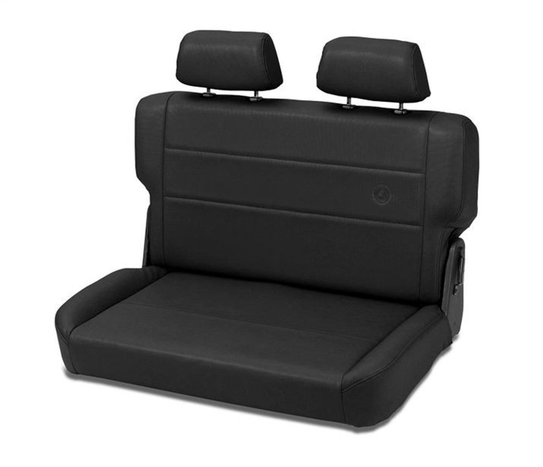 Bestop 39440-15 TrailMax II Fold and Tumble Black Denim All-Vinyl Rear Bench Seat for 1955-1995 CJ5 CJ7 and Wrangler YJ