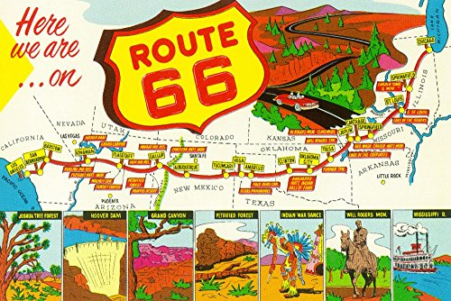 (Map of Route 66 from Los Angeles to Chicago - Vintage Advertisement (9x12 Fine Art Print, Home Wall Decor Artwork Poster))
