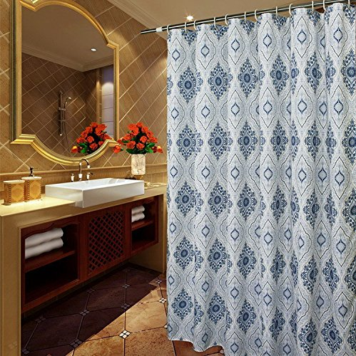 Welwo Shower curtain, Paisley Shower Curtain Sets with Hooks_Rings X-Long Extra Long Shower Curtain 72 x 84 Inches Bath Curtains for Bathroom, White/Ink Blue