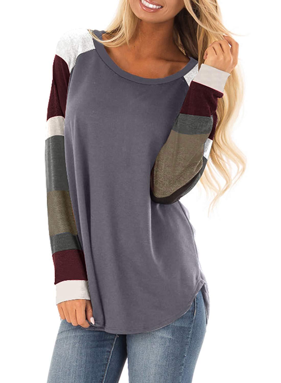 Flying Rabbit långärmad t-shirt för kvinnor, sweatshirt, pullover, randig, lapptäcke, rund hals, blus, färgblock, sweatshirt Grey J