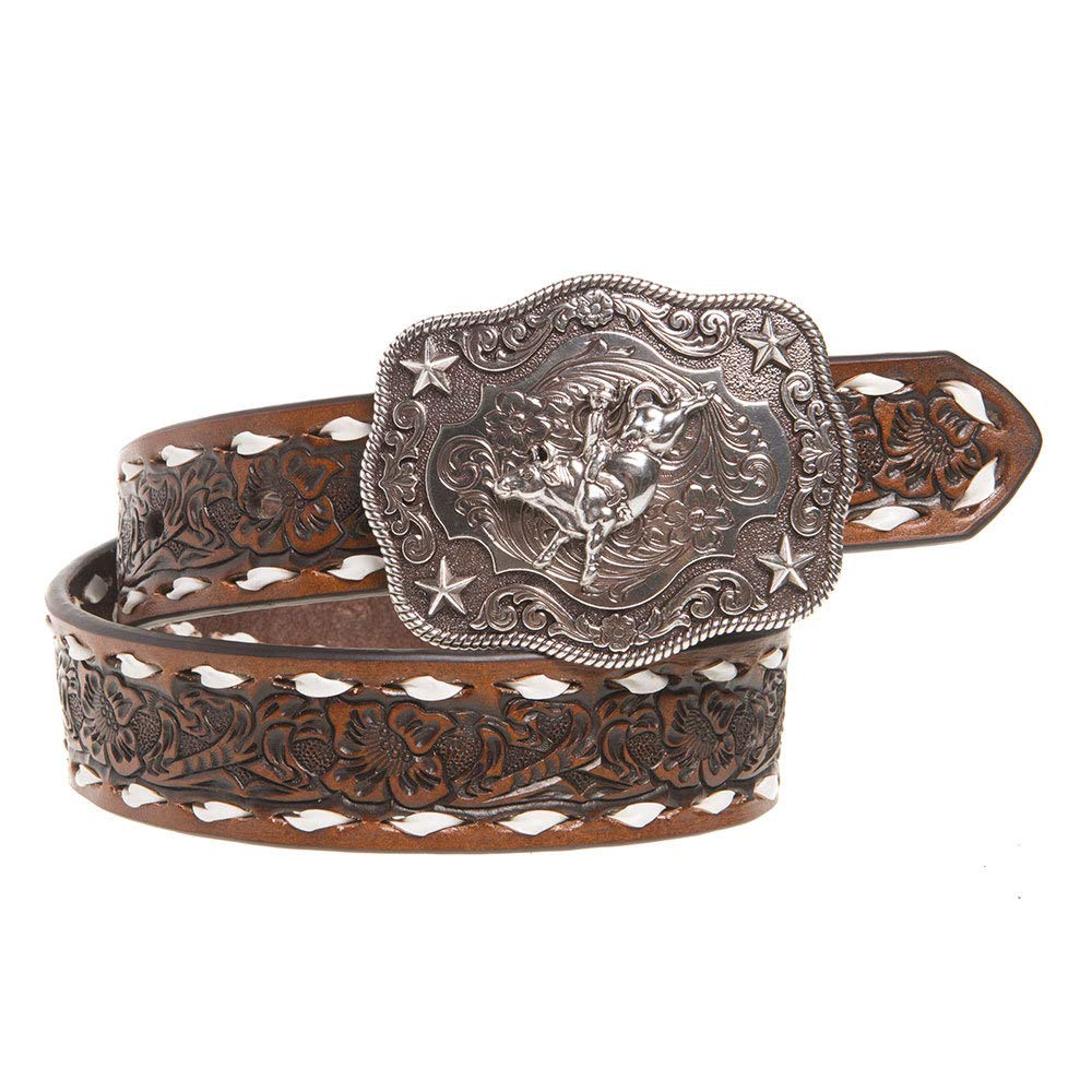 Nocona Boy's Rodeo Bull Rider Motif Buckle Belt, Tan, 24