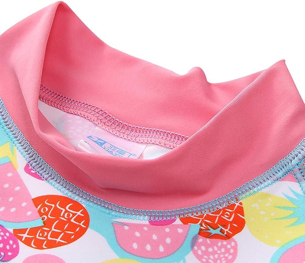 Baby Girls Two Piece Long Sleeve Rashguard Swimwear Childrens Swimsuit Surf Suit Sun Protection