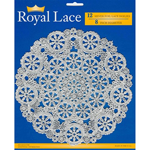 Royal Lace Round Foil Doilies, Silver, 8-Inch, Pack of 12 (B26505)