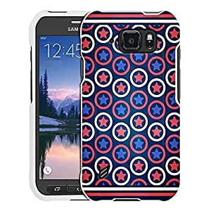 Samsung Galaxy S6 Active Case, Snap On Cover by Trek Patriotic Stars Stripes and Circles Case