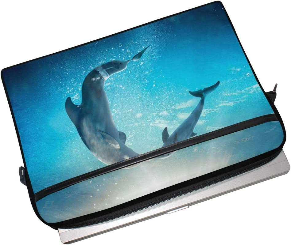 Anmarco Kiss Dolphin Tale Laptop Shoulder Messenger Bag Case Sleeve for 14 Inch to 15.4 inch Laptop