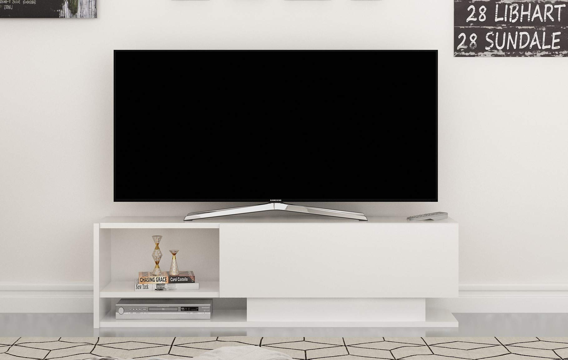Decorotika Damlas Modern White TV Stand and Media Storage for up to 50'' TVs - Space Saver - Ideal for Small Living Rooms, Dorms, Apartments by Decorotika