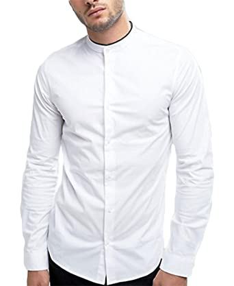 7063eda9 DOM Stand Collar Casual White Shirt Black Strip for Men's. Roll over image  to zoom in