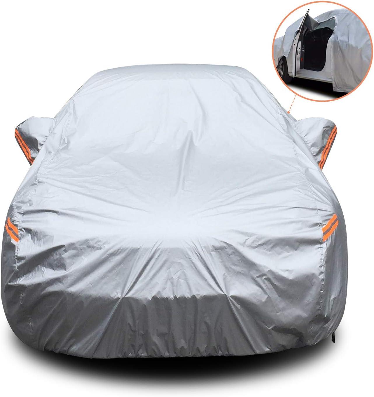 YIBEICO Funda para Coche Exterior Impermeable, Cubierta de Protección Automóvil con Raya Zip/Fluorescente (510X190X150cm)
