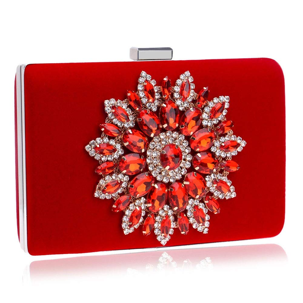 Techecho Clutch Purse Evening Clutches Handbag Bridal Purse Party Bags for Prom Cocktail Wedding Women//Girls Frosted Handbag Party Color : Red, Size : Free Size