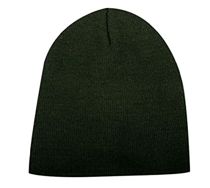 Amazon.com  Solid Hunter Green Smooth Textured Beanie Knit Stocking Cap  Skully Winter Hat  Sports   Outdoors 884721c563a