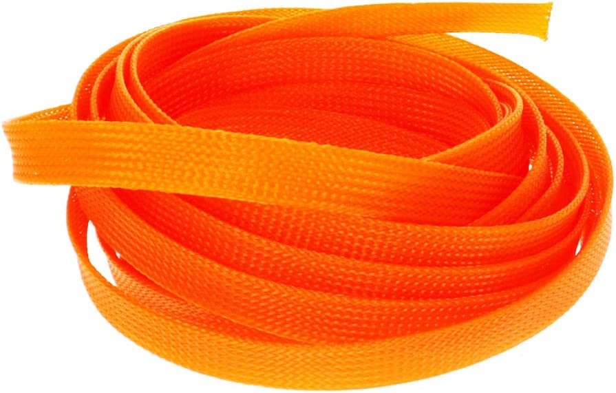 Othmro Expandable Braided Sleeving, 12 mm Flat Width Braided Cable Sleeve, Orange 1 pcs