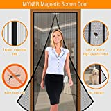 MYNER Magnetic Screen Door with 13 Sets of Reinforced Magnets, Insect-Proofing, Breathable, Full Frame Velcro, Fits Doors Up to 34''X82'', Black (Attached a Pack of Fixed Pins)