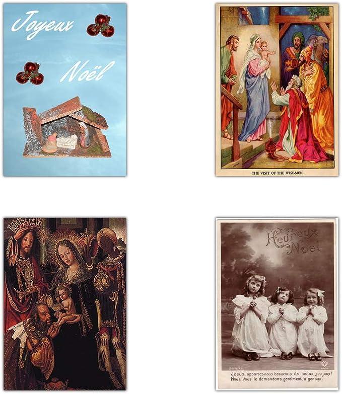 Religieuse chrétienne de Noël Nativité Autocollants étiquettes Pour Cartes et Artisanat X50306