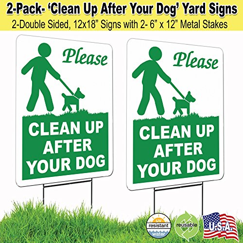 2 Pack12x18 Clean Up After Your Dog Lawn Signs with H-stakes (2)