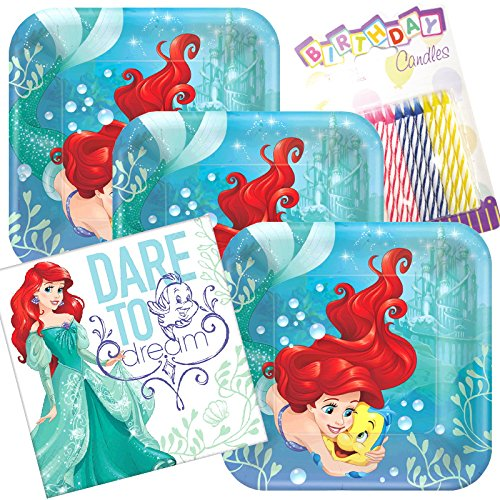 Lobyn Value Pack Little Mermaid Ariel Dream Big Party Plates and Napkins Serves 16 With Birthday Candles ()