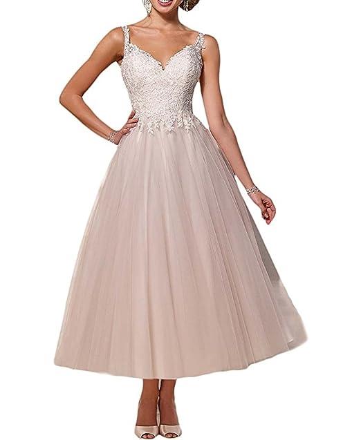 ANJURUISI La mujer es simple apliques de encaje tul vestido de novia vestidos de novia: Amazon.es: Ropa y accesorios