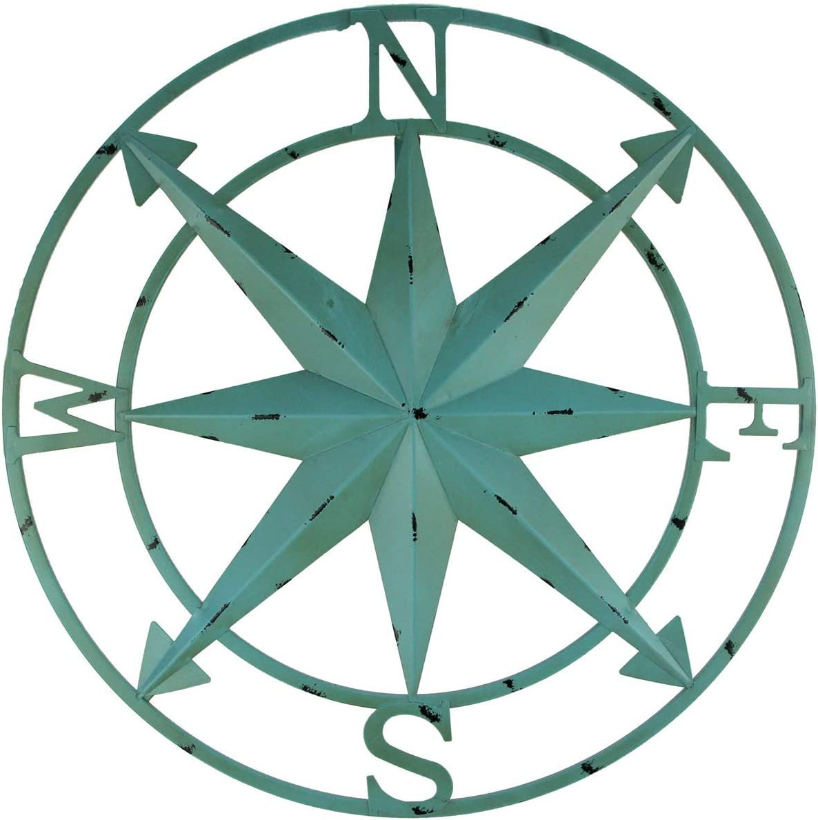 Zeckos 20 Inch Distressed Metal Compass Rose Nautical Wall Decor Indoor Outdoor, Blue