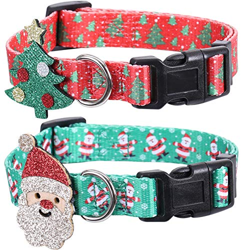 Lamphyface 2 Pack Christmas Dog Collar Adjustable with Father Christmas