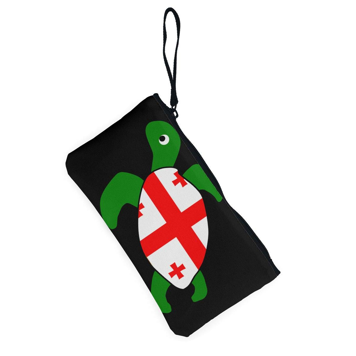 Sea Turtle Georgia Flag Canvas Coin Purse Cute Change Pouch Wallet Bag Multifunctional Cellphone Bag with Handle