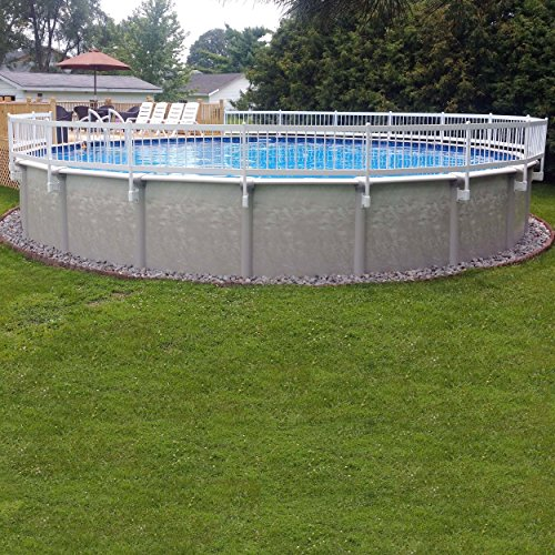 (Vinyl Works 24-Inch White Economy Resin Above-Ground Pool Fence Base Kit A - 8 Sections)