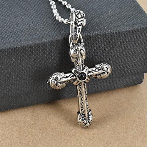 db739cab5544 Hardart Colgante de cruz de acero inoxidable con diseño de flor de edad  media antigua