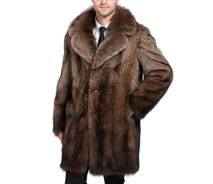 bb679140ccd8d4 Tngan Mens Faux Fur Coat Outwear Winter Warm Lapel Parka Luxury Long  Overcoat L