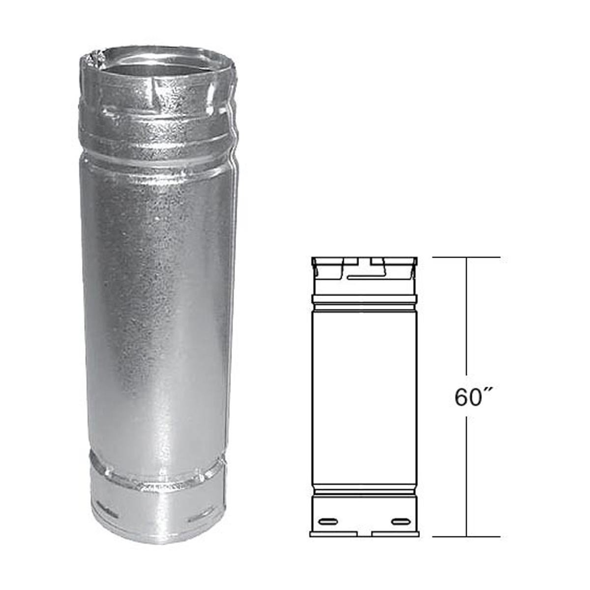 PelletVent Pro PVP-60 Straight Pipe, Stainless Steel Inner, Galvalume Outer, 3'' x 60''