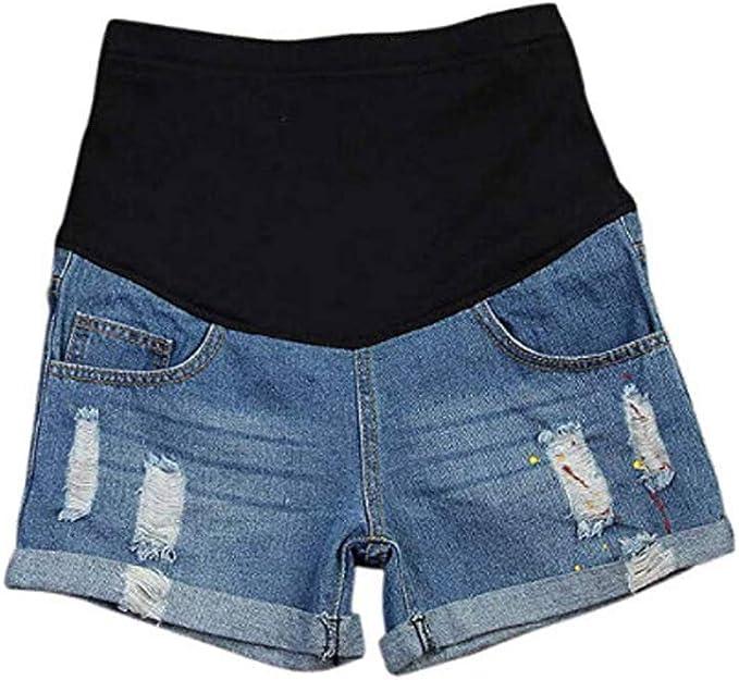 Women/'s Plus Size Bump It Up Maternity Blue Distressed Denim Shorts