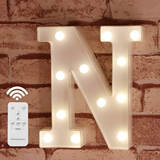 Pooqla LED Marquee Letter Lights Alphabet Light Up Sign with Wireless Timer Remote Control Dimmable for Wedding Home Party Bar Decoration - RC - N