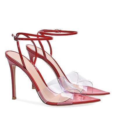 Femmes Chaussures PVC D'été Automne Club Chaussures Light Up Chaussures Talons Talon Stiletto Talon de Cristal Translucide Talon Cristal Talon pour Fête (Couleur : B, Taille : 35)