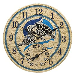Springfield 12 Turtle Poly Resin Clock with Thermometer