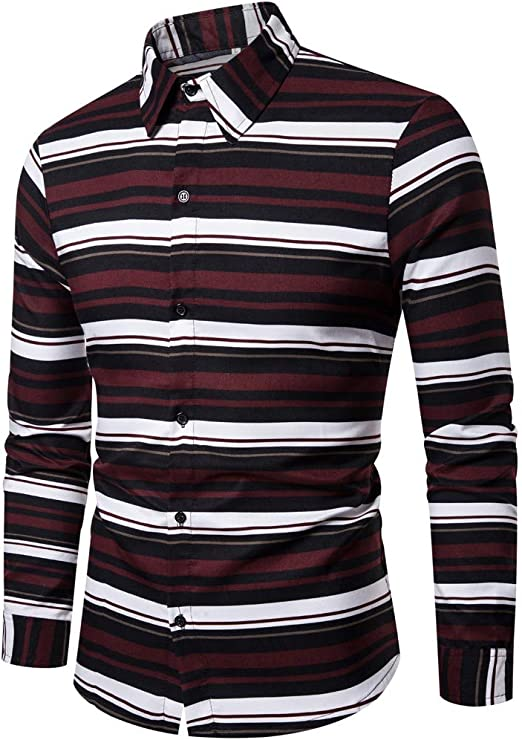 Stylish Men/'s Button-Down Shirts Striped Slim Fit Long Sleeve Casual Tee Tops