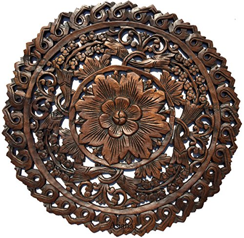 Tropical Bali Floral Wood Carved Wall Art Round Plaque. Rustic Home Decor. 24