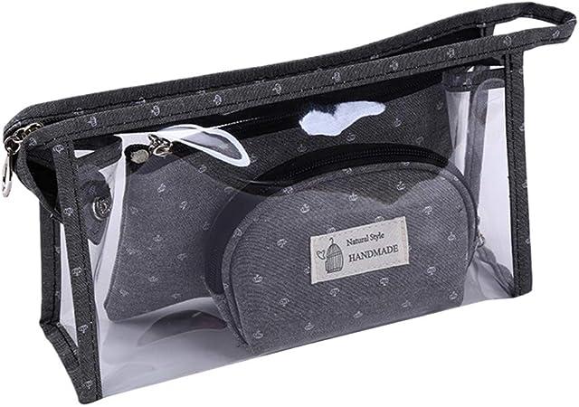 Yanhonin 3 Piezas Estuche de Maquillaje, Bolsas de Almacenamiento cosméticos para Joyas Transparentes Gris Gris: Amazon.es: Hogar
