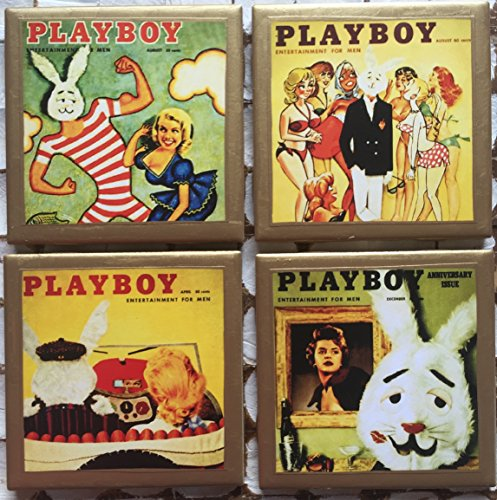 Coasters! Vintage Playboy magazine cover coasters with gold trim