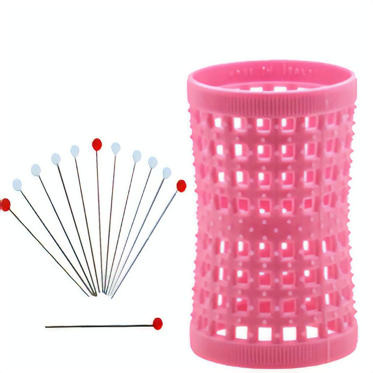12 Metal Rollers Pins + Pink HGR 42mm/1.65in - Pack of 12 by Hourglass Hair Rollers