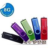 5 Pezzi 8GB Chiavetta ENUODA Pennetta Girevole USB 2.0 Unità Memoria Flash (5 Multicolorato: Nero Blu Verde Viola Rosso)