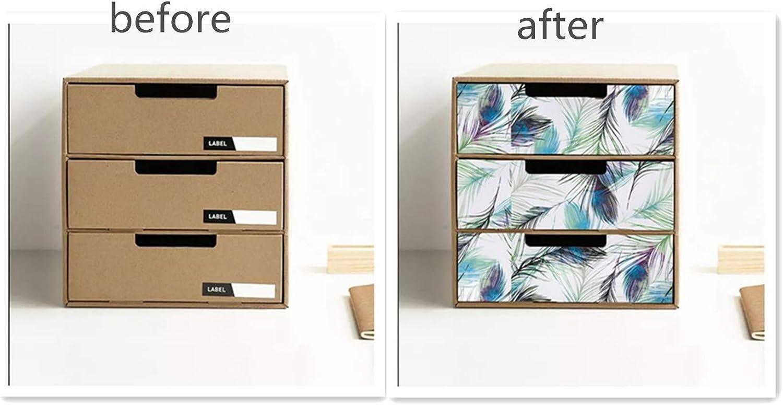Hode Papier Adhesif Decoratif Plume Papier Adhesif pour Meuble Vinyle D/écoration Murale Contacter Papier Etanche Plume 45X200cm