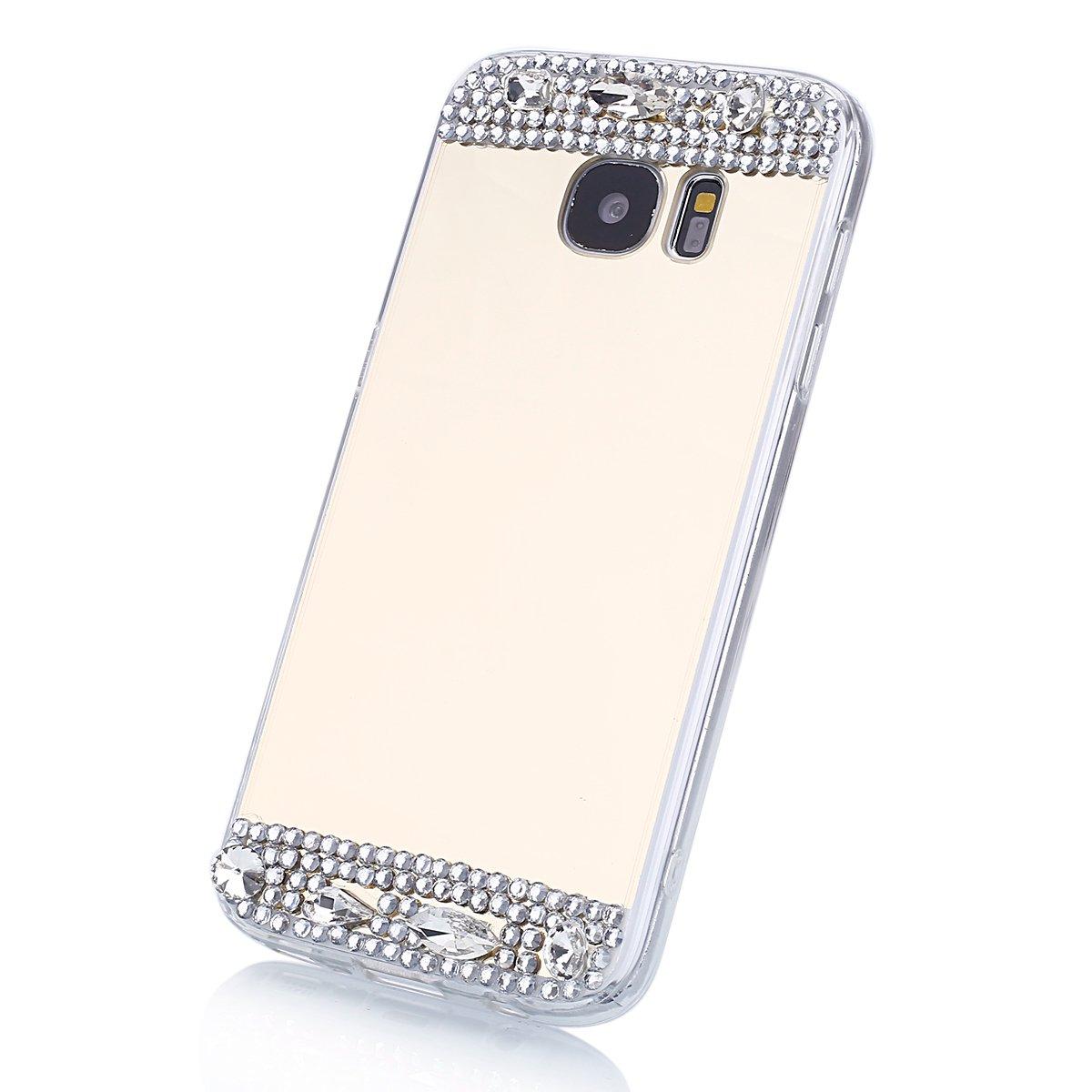 EINFFHO Silicone Miroir Coque Samsung Galaxy S6 Edge Plus Protector Bumper Strass Diamant Briller Soft Silicone R/éfl/échissant Placcatura Miroir Housse /Étui pour Samsung Galaxy S6 Edge Plus Or Rose