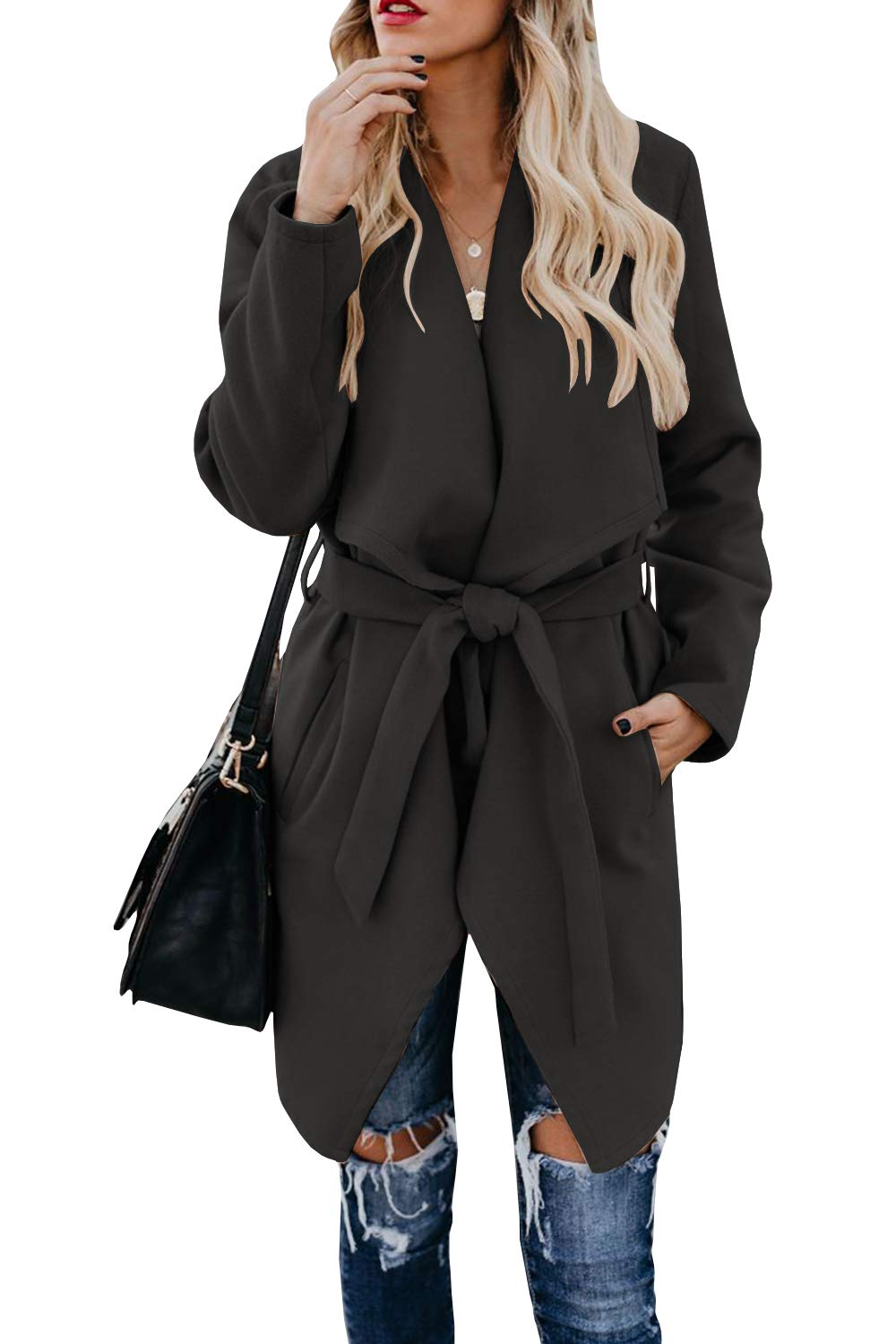 Foshow Women's Lapel Wool Blend Coat Long Sleeve Belted Trench Overcoat with Pockets Black by Foshow