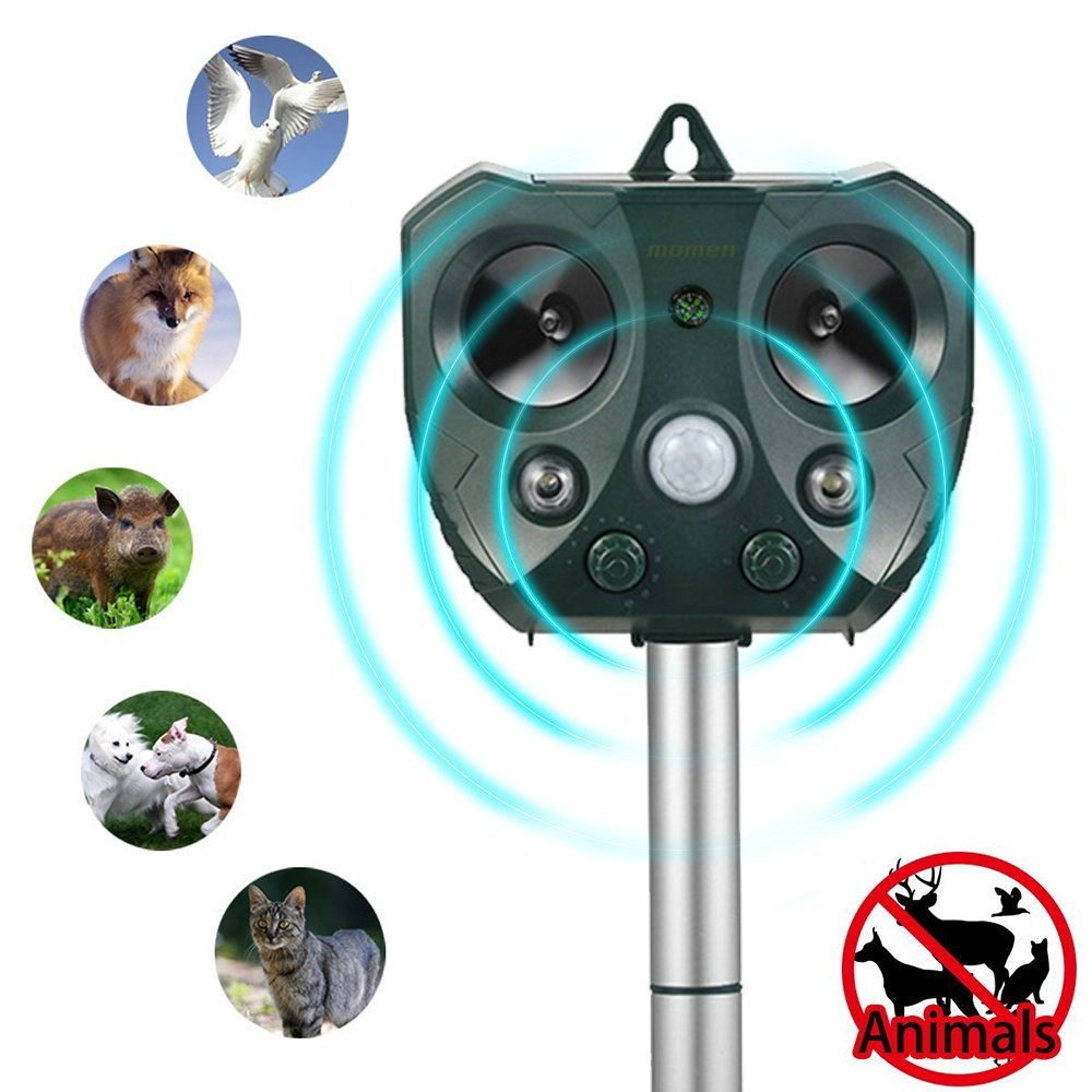 Animal Pest Repellent Outdoor,momen Ultrasonic Solar Powered Pest Repeller, Effective Control Deer, Bird, Rabbit, Rodent, Squirrel, Cat, Bat, Snake, Racoon Non Toxic Natural Repellent