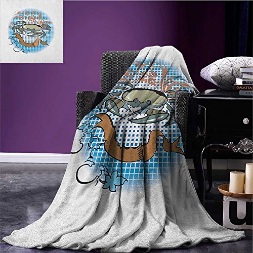 Crabs throw blanket Cancer Sign in Cartoon Tattoo Style Astrological Theme with Floral Details Horoscope miracle blanket Multicolor size:59